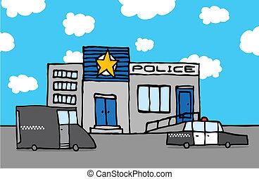 Estación de policía Cartoon