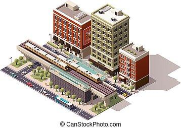 Estación de tren de Vector Isometric City