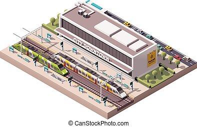 Estación de tren isometría Vector