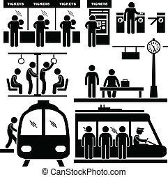 estación de tren, metro, viajero, hombre