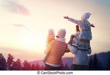 estación, familia , invierno
