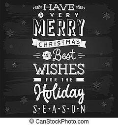 estación, feriado, saludos, pizarra, navidad