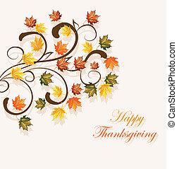 estacional, hojas, acción de gracias, otoñal, diseño, plano de fondo, o