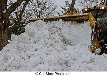 estacionamiento, coches, camino, eliminación, winter., nieve, equipo