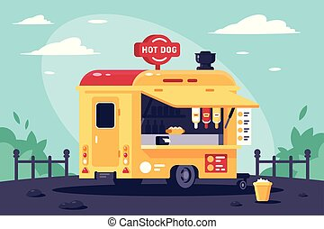 Estacionamiento móvil con perros calientes en el trabajo en el parque.