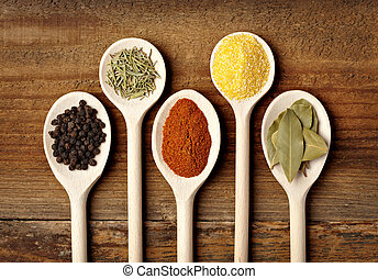 Estacionando ingredientes de comida de especia