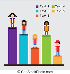 estadística, barras, pixel, diseño