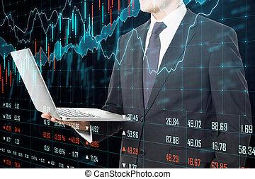 estadística, computador portatil, empresa / negocio, tenencia, hombre de negocios
