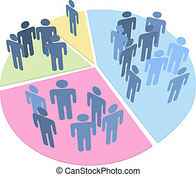 estadística, gente, gráfico circular, datos, población