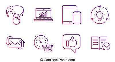 Estadísticas en línea, consejos rápidos e íconos de ideas. Elefante en bola y señales de correo. Vector