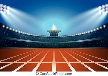 Estadio de atletismo con pista en la vista de la noche. Ilustración de vectores