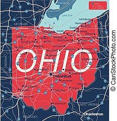 estado, detallado, editable, mapa, ohio