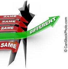 estado, diferente, flechas, mismo, golpes, contra, innovación, único, quo