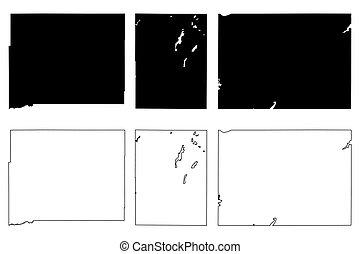 estado, ilustración, américa, (u.s., condado, vector, unido, estados unidos de américa, us), sur, u..s.., garabato, dakota, mapa, estados, brookings, butte, marrón, bosquejo