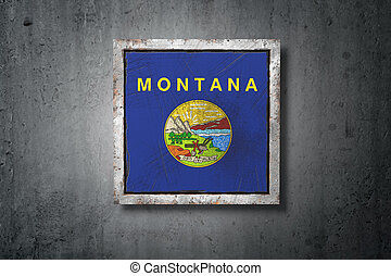 estado, montana, viejo, bandera