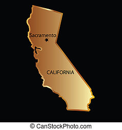 estado, oro, mapa, california