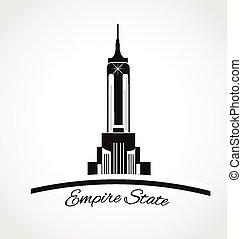 estado, york, logotipo, nuevo, imperio, icono