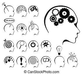 estados, cerebro, conjunto, icono, actividad