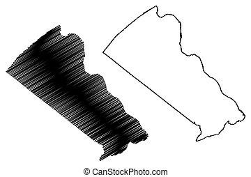 estados, estados unidos de américa, (u.s., pensilvania, dólares, us), mapa, vector, ilustración, américa, condado, mancomunidad, bosquejo, u..s.., unido, garabato