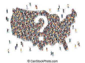 estados, gente, vector, center., estancia, personas., grupo, marca, nosotros, encrucijada, concepto, illustration., formación, américa, país, hecho, pregunta, mapa, unido, estados unidos de américa, muchos