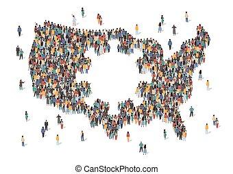 estados, gente, virus, vector, center., estancia, covid, personas., grupo, concepto, illustration., formación, américa, nosotros, pandemia, hecho, corona, mapa, unido, estados unidos de américa, coronavirus, muchos