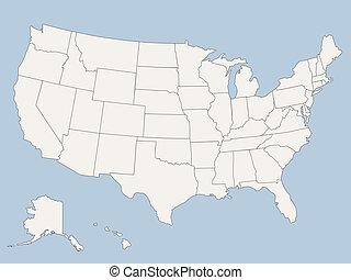 estados, mapa, américa, unido, vector