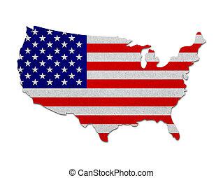 estados, mapa, bandera, unido, papel