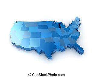 estados, mapa, unido, américa, 3d
