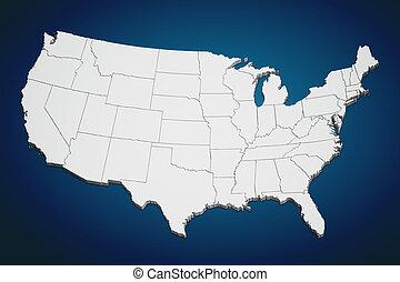estados, mapa, unido, azul