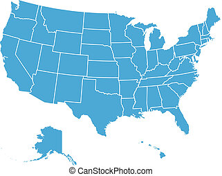 estados, mapa, unido, vector