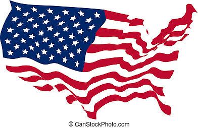 Estados Unidos con forma de bandera