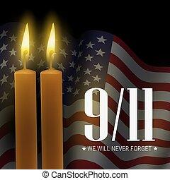 estados unidos de américa, 9/11, day., forget., vector, nosotros, bandera, velas, voluntad, monumento conmemorativo, patriota, nunca, bandera
