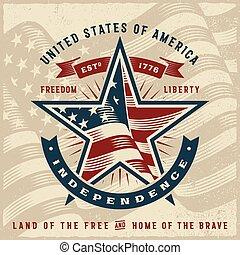 estados unidos de américa, etiqueta, independencia, vendimia