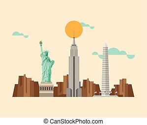 estados unidos de américa, famoso, monumentos