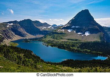 estados unidos de américa, glaciar, nacional, lago, parque, rastro, montana, escondido