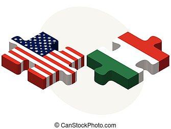 estados unidos de américa, hungría, banderas, rompecabezas