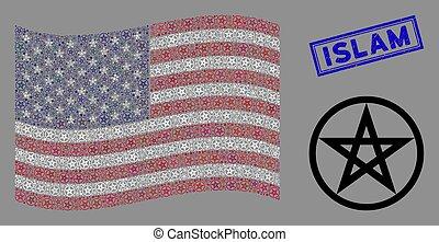 estados unidos de américa, islam, collage, estrella, estampilla, bandera, textured, pentacle
