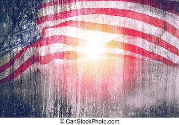 estados unidos de américa, julio, o, 4, plano de fondo, monumento veteranos, grunge, día, bandera, day.