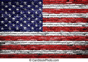 Estados Unidos de América la bandera pintada en la pared de ladrillos