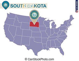 estados unidos de américa, map., bandera del estado, dakota, sur