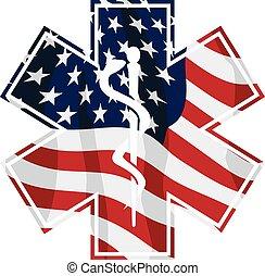 estados unidos de américa, símbolo médico, vector, servicio, emt, aislado, patriótico, ilustración, paramédico, cubrir, bandera
