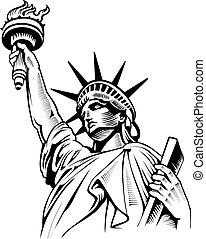 estados unidos de américa, símbolo, nyc, libertad, estatua