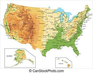 Estados Unidos de América y el mapa físico