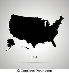 Estados Unidos en el mapa de América, simple silueta negra en gris