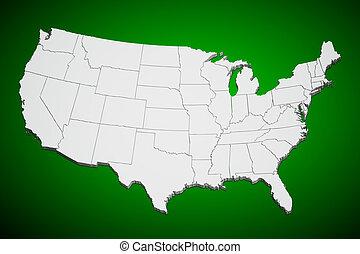 Estados Unidos mapa en verde