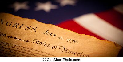 estados unidos señalan, plano de fondo, declaración, independencia