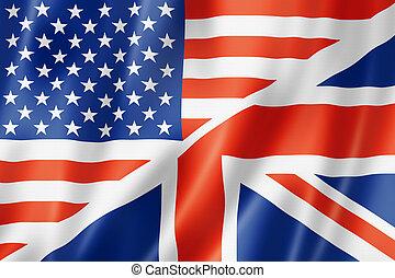 Estados Unidos y bandera británica