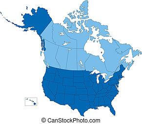 Estados Unidos y Canadá, estados y provincias, color azul
