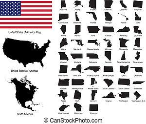 estados, vectors, estados unidos de américa