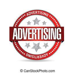estampilla, advertising., palabra, ilustración